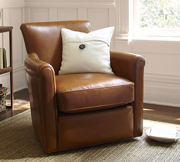 Irving Roll Arm Leather Swivel Armchair Pottery Barn
