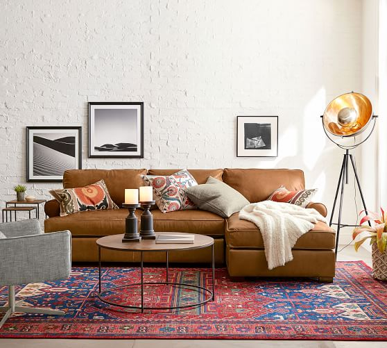 townsend roll arm leather sofa chaise sectional