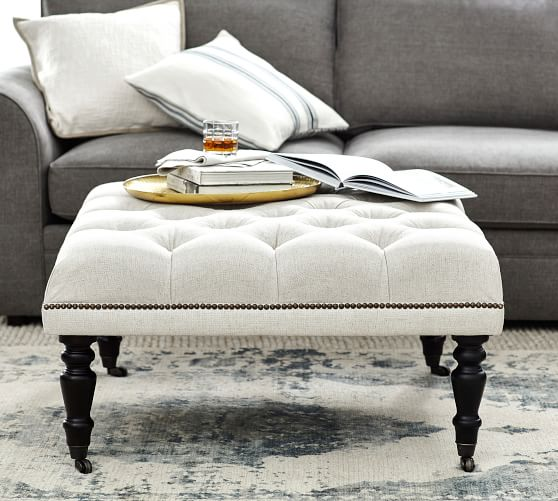 raleigh tufted upholstered square ottoman