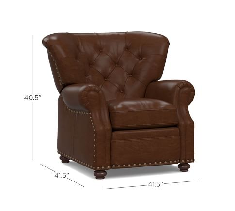 lansing leather recliner polyester wrapped cushions signature maple