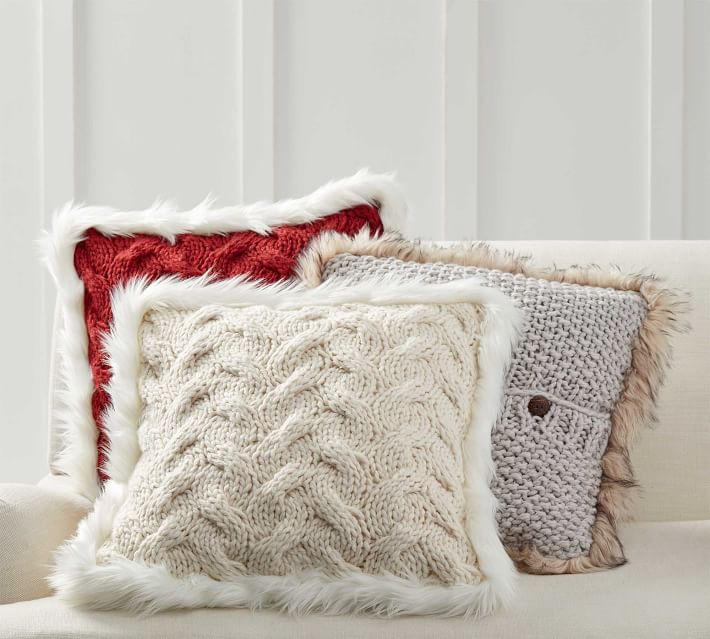 pottery barn faux fur pillow cover online