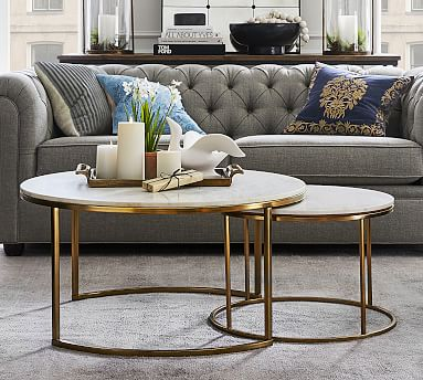 delaney round marble nesting coffee tables