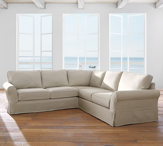pb comfort roll arm slipcovered 3 piece l sectional