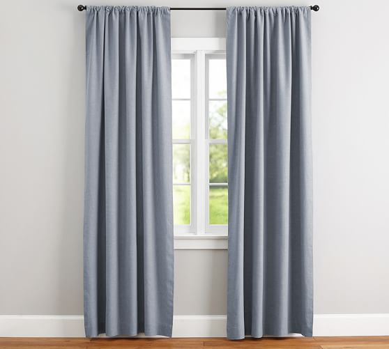 Emery Linen Cotton Rod Pocket Blackout Curtain Blue Dawn Pottery Barn