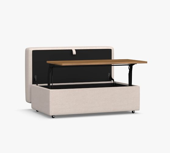 big sur upholstered storage ottoman with pull out table