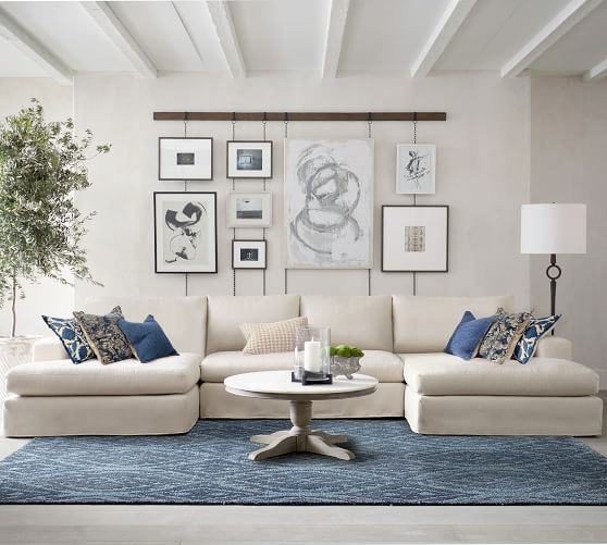 big sur square arm slipcovered u shaped double chaise sectional