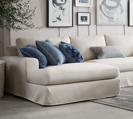 big sur square arm slipcovered sofa double chaise sectional