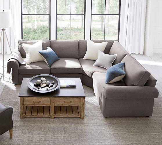 pearce roll arm upholstered 3 piece sectional with wedge