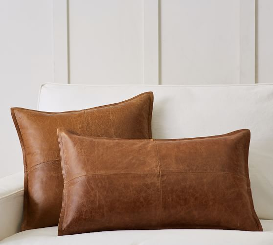 pieced leather pillow covers