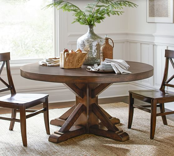 benchwright round pedestal dining table