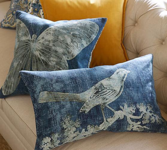 batik bird printed lumbar decorative