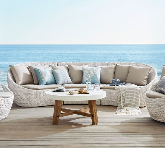 build your own torrey all weather wicker curved sectional components white wash