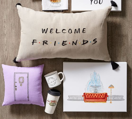 friends welcome pillow pottery barn