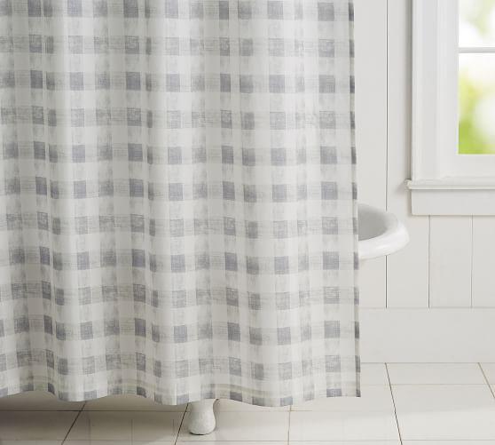 rhett check organic shower curtain