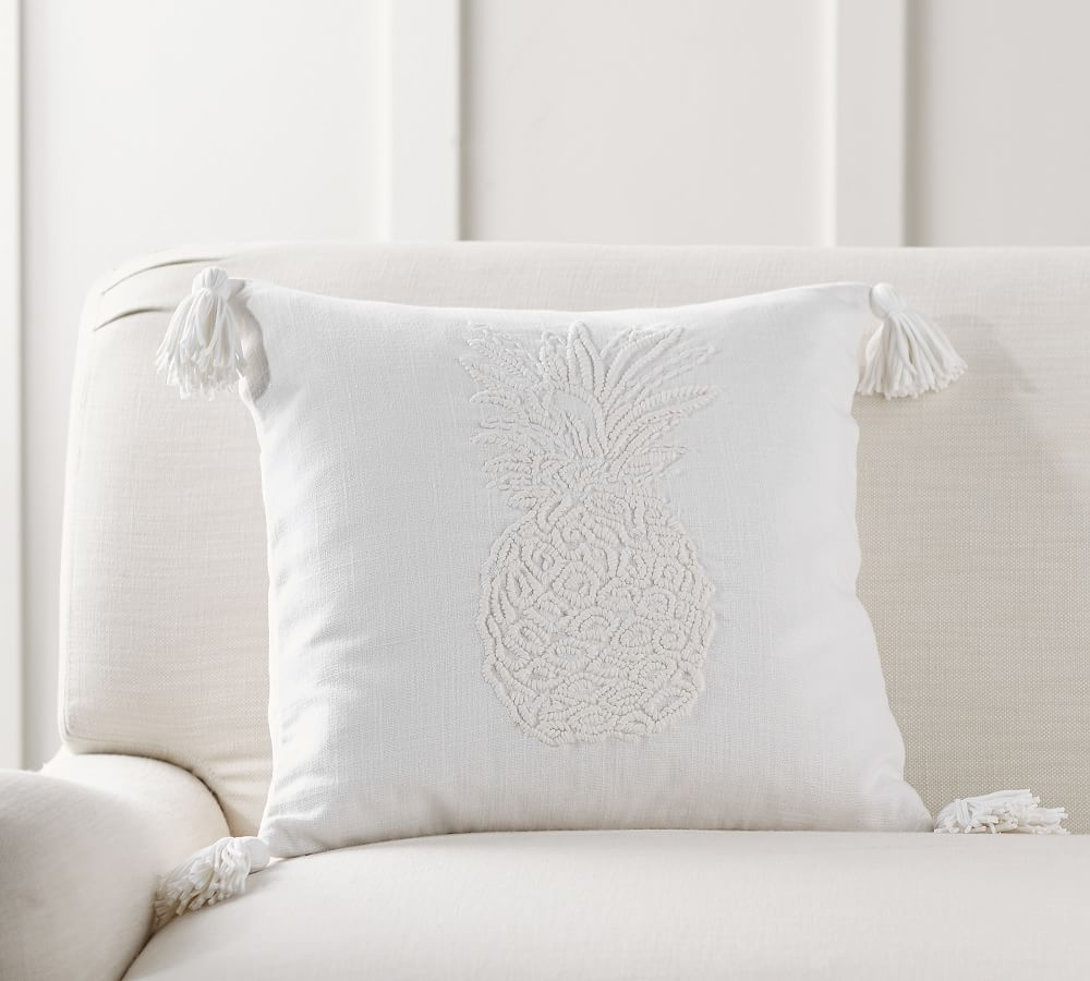 pineapple embroidered pillow cover