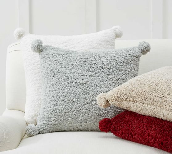cozy pom pom sherpa pillow covers