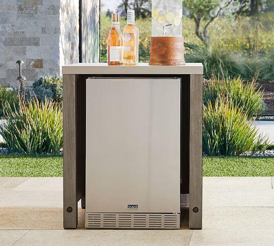 abbott outdoor kitchen fsc acacia convertable refrigerator cabinet gray wash