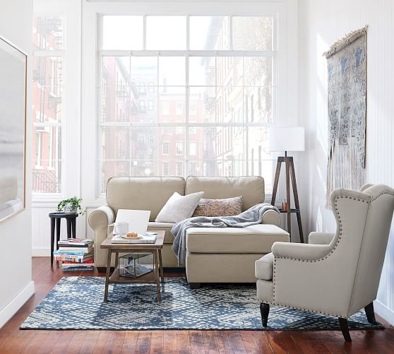 fremont roll arm upholstered sofa with reversible chaise sectional