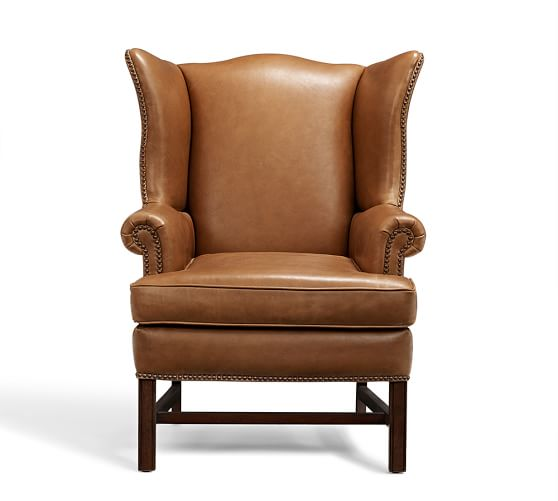 Thatcher Leather Wingback Chair Pottery Barn