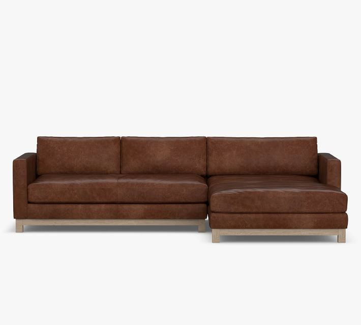 jake leather sofa with double chaise sectional with wood base
