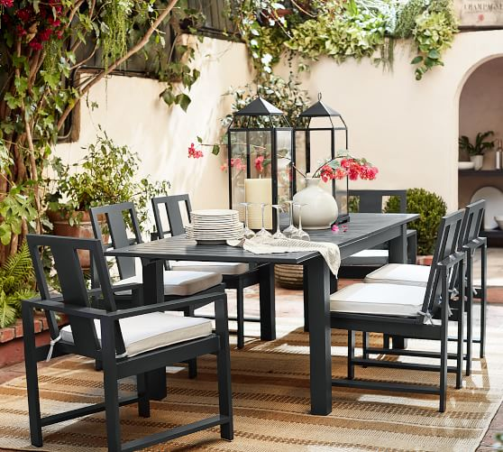 perfect pair indio metal extending dining table chair slate