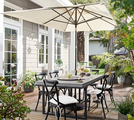 10 rectangular outdoor umbrella rustproof aluminum tilt frame bronze