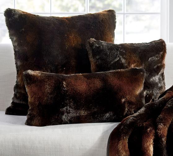 faux fur pillow cover brown bear