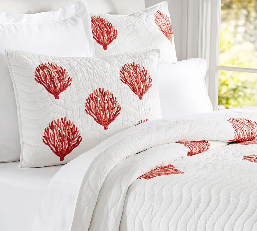 coral embroidered quilt shams