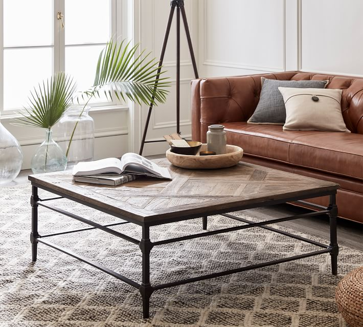 parquet 46 square reclaimed wood coffee table