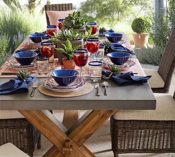 abbott indoor outdoor 84 concrete fsc acacia dining table