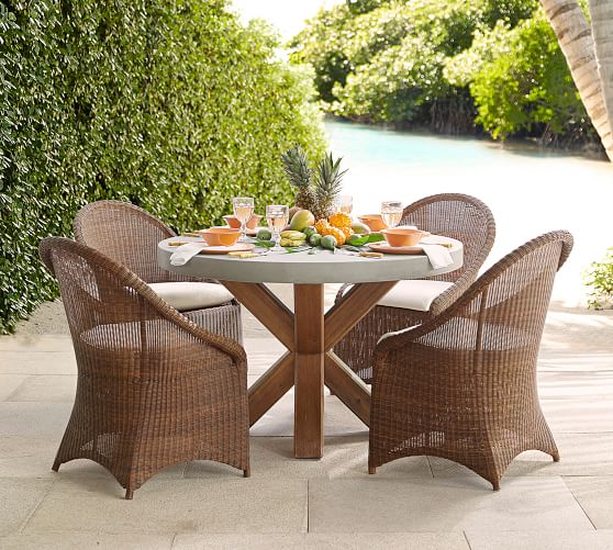 abbott indoor outdoor 48 concrete fsc acacia round dining table brown