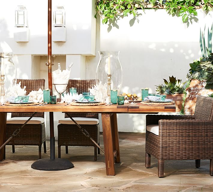 benchwright outdoor extending rectangular 74 dining table