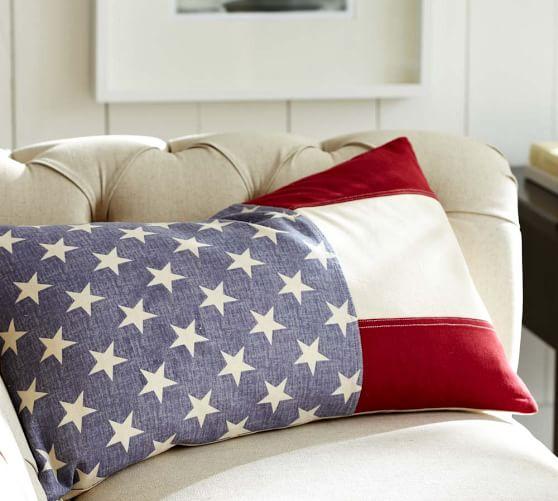 american flag lumbar decorative pillow