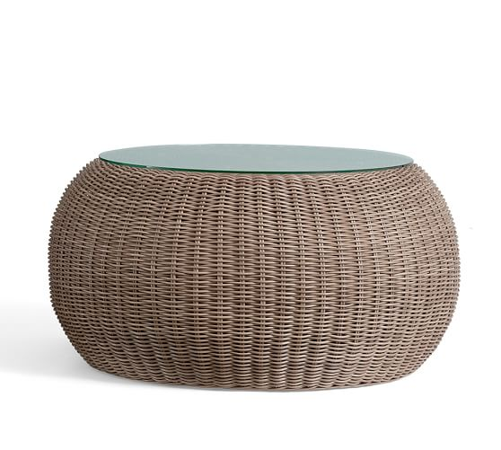 torrey 36 5 all weather wicker coffee table pouf natural