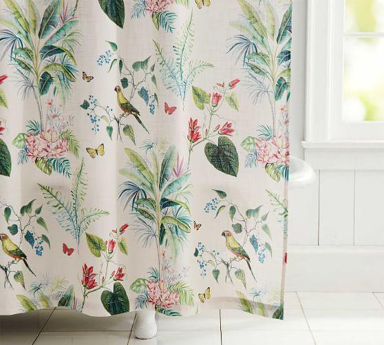 lia palm cotton shower curtain