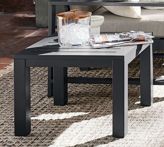 indio metal side table slate
