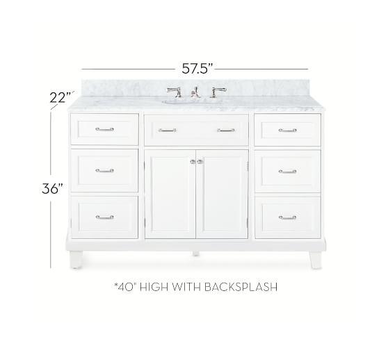 custom classic 57 5 single sink vanity with drawers