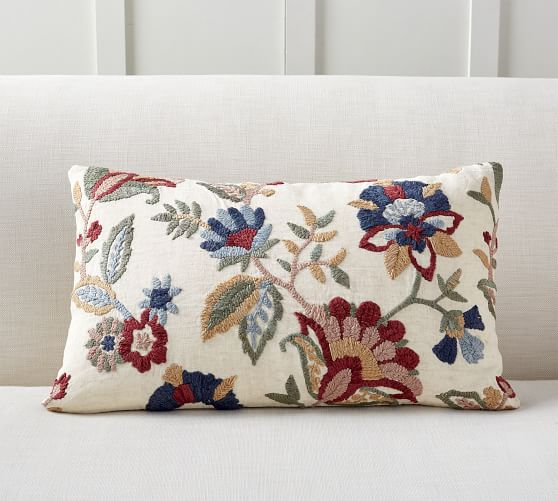 aviva floral embroidered lumbar pillow cover
