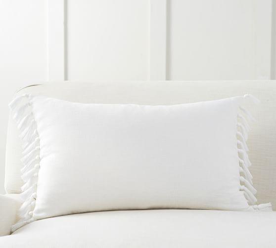 ivory tassel lumbar pillow cover