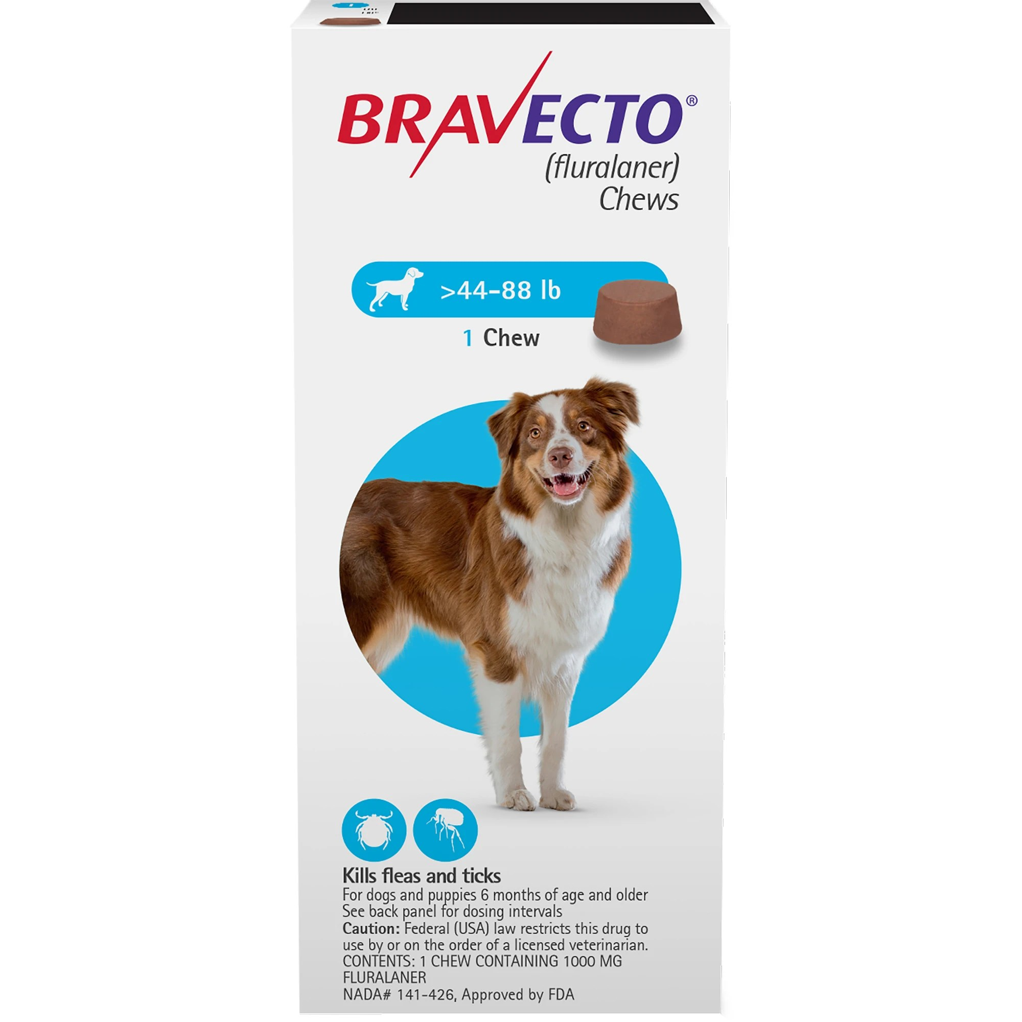 Bravecto Chews For Dogs 44 88 Lbs Single 12 Week Dose Petco