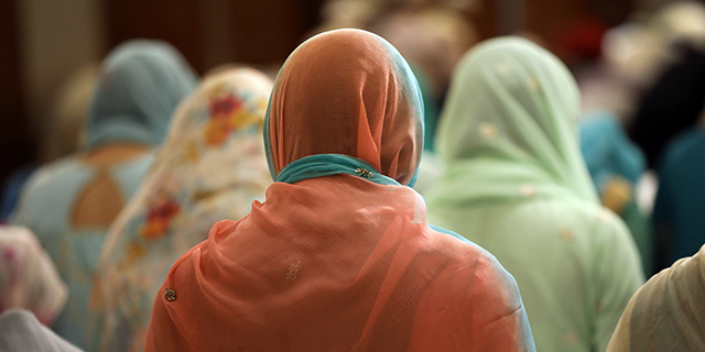 Muslim women attend a prayer service celebrating Eid al-Fitr, the end of the Ramadan month of prayer and fasting, on June 25 in Stamford, Connecticut. (John Moore/Getty Images)