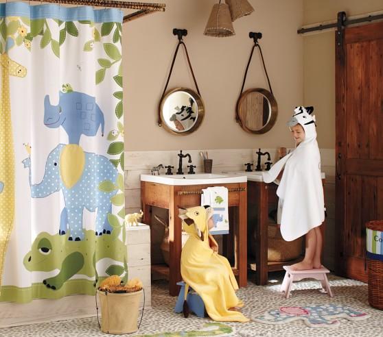safari kids shower curtain pottery