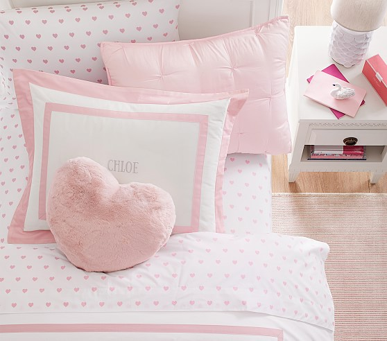heart organic sheet set pillowcases