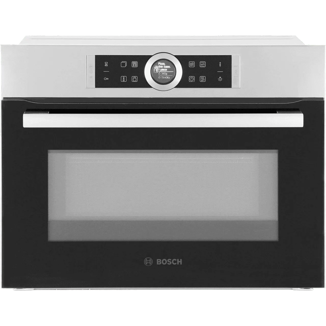 bosch serie 8 cmg633bs1b built in compact electric single oven with microwave function brushed steel