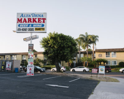 The former Parkwood Apartments in the  Clairemont Mesa neighborhood, where Omar al-Bayoumi helped Hazmi and  Mihdhar rent their first San Diego apartment. They often used a pay  phone at the Alta Dena market across the street.   (John Francis Peters, special to ProPublica)