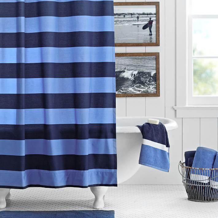 navy blue rugby stripe teen shower