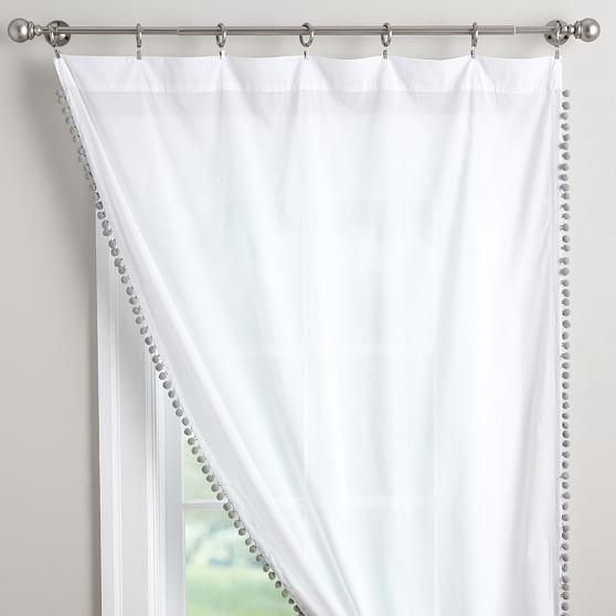 pom pom sheer curtain teen curtains