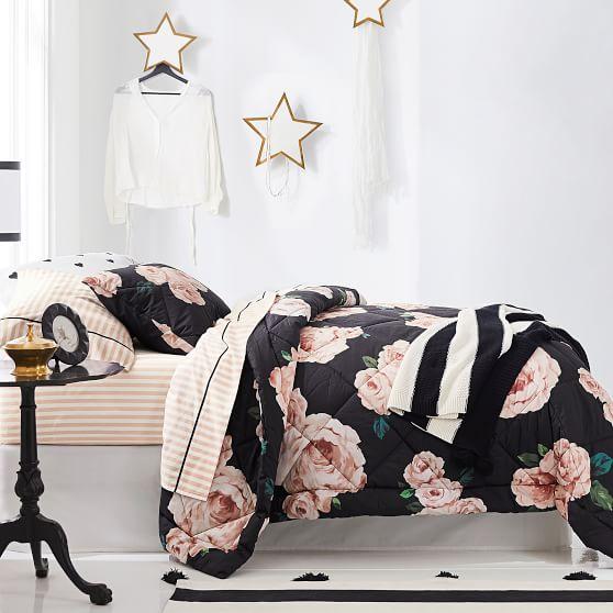 the emily meritt bed of roses comforter sham black blush
