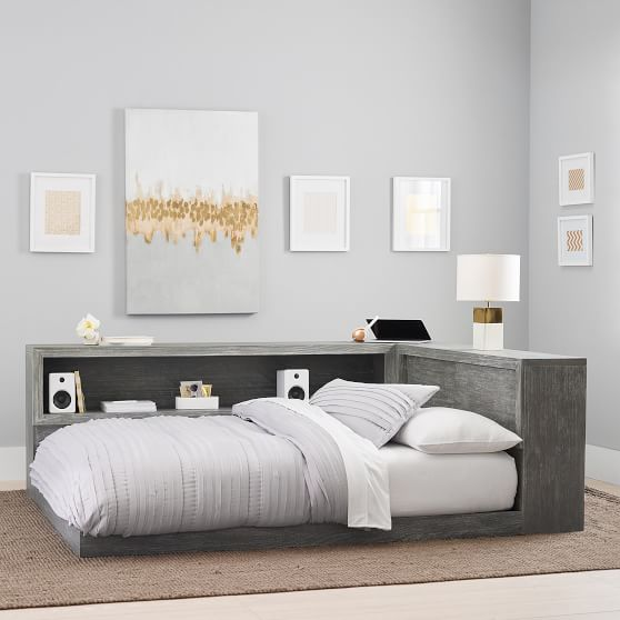 costa platform lounge bed weathered white