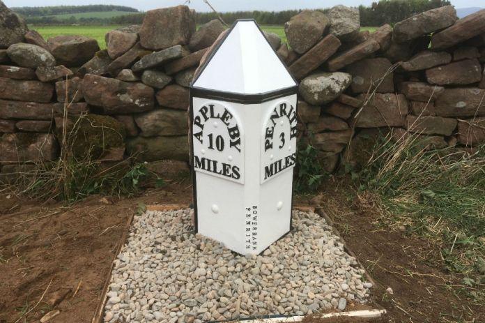Replica 19th century milestone post near Whinfell Park